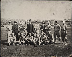 1905 World Series - Philadelphia Athletics and Connie Mack before one of the games at the Polo Grounds.