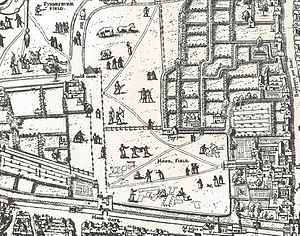"Moorfields - Moorgate and the Moorfields area shown on the ""Copperplate"" map of London of the 1550s"