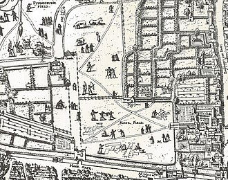 """Moorfields - Moorgate and the Moorfields area shown on the """"Copperplate"""" map of London of the 1550s"""