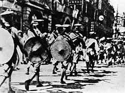 The National Revolutionary Army soldiers marched into the British concessions in Hubei during the Northern Expedition.