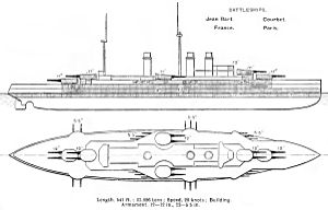 French battleship Courbet (1911) - Right elevation and deck plan as depicted in Brassey's Naval Annual 1912