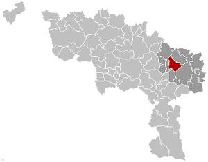 Courcelles, Belgium - Image: Courcelles Hainaut Belgium Map