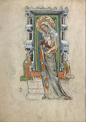 Hedwig Codex - Saint Hedwig of Silesia venerated by Duke Louis and his consort Agnes (fol. 12v)