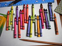 Crayons have replaced paints as the common means of filling in coloring books.