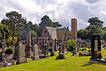 Crematorium at Macclesfield Cemetery from Ian Curtis's grave marker.jpg