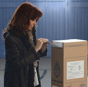 Argentine general election, 2015 - Then-president Cristina Fernández de Kirchner casting her vote.