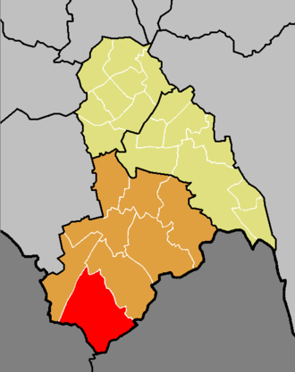 Coulsdon East (ward) - The ward of Coulsdon East (red) shown within the Croydon South constituency (orange) within the London Borough of Croydon (yellow)