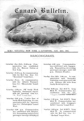 Invention of radio - Cunard Daily Bulletin