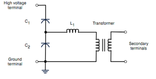 The circuit diagram for a simple capacitor voltage transformer