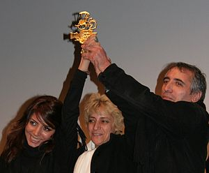 Mohsen Makhmalbaf - Hana Makhmalbaf, Marzieh Meshkini and Mohsen Makhmalbaf, receiving the Cyclo d'Or at the Vesoul International Film Festival of Asian Cinema in 2009