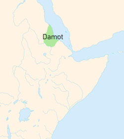 "Dʿmt is given as ""Damot"" on this map, not to be confused with the later and more southwestern Kingdom of Damot."