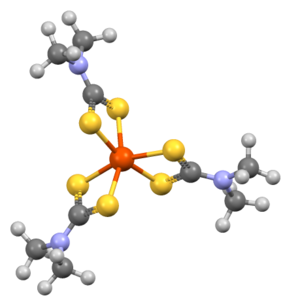 Iron tris(dimethyldithiocarbamate) - Image: DMTCFE01Fe(dtc)3tigh t