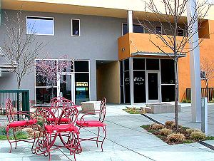 Prospect New Town - Courtyard of a commercial structure along Tenacity Drive in Prospect New Town. The building shown here is less than 100 meters from the streets with detached homes, allowing quick commutes and easy access for residents.