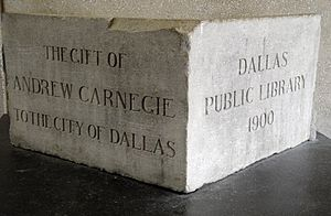 Dallas Public Library - The cornerstone of the old Carnegie Library, which was demolished in 1954