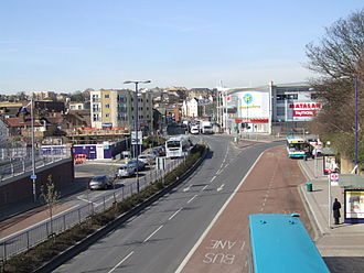 A226 road - Looking West over Home Gardens A226 in Dartford. On the right are the Fasttrack bus lanes