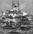 Das venezolanische Kanonenboot BOLIVAR wird am 10. Dezember 1902 während der Venezuela-Blockade von Einheiten der Royal Navy bei Trinidad gekapert.jpg