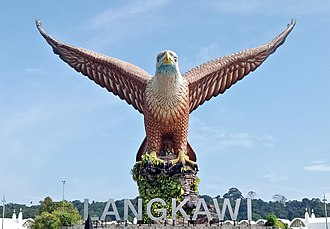 Kuah - A view of the eagle sculpture in Eagle Square in Kuah town, Langkawi