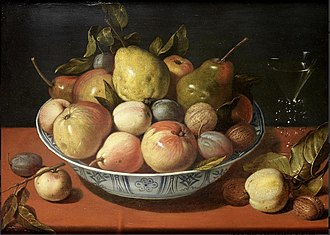 David Rijckaert II - Apples, pears, plums and other fruit with walnuts in a wan-li bowl