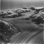 Dawes Glacier, tidewater glacier with dark lateral moraines, August 23, 1976 (GLACIERS 5399).jpg