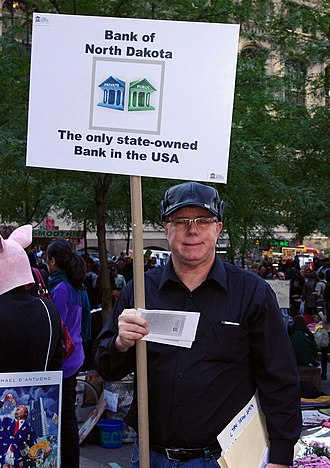 Bank of North Dakota - A man in October 2011 advertising the bank at Occupy Wall Street.