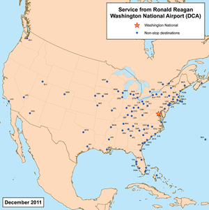 Destinations with non-stop service from Reagan...