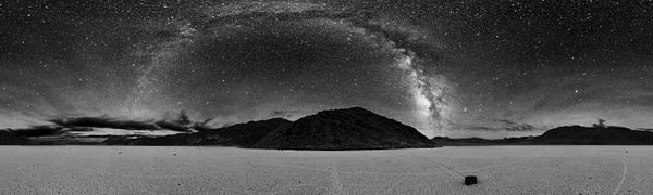 360° panorama of Racetrack Playa at night. The Milky Way is visible as an arc in the center.