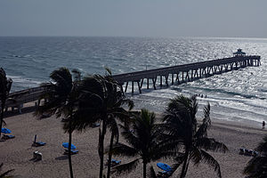 Deerfield Beach, Florida - Deerfield Beach with pier in background