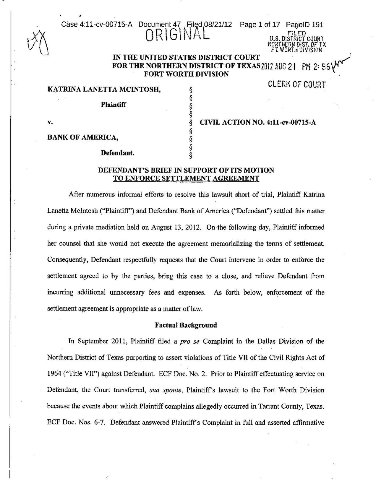 Filedefendants brief in support of its motion to enforce filedefendants brief in support of its motion to enforce settlement agreementpdf platinumwayz