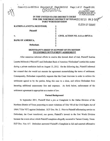 Filedefendants Brief In Support Of Its Motion To Enforce