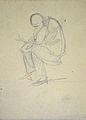 Dehodencq A. - Pencil - Etude de personnage assis écrivant - 7x10cm.jpg