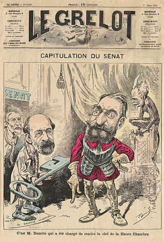 Charles Demôle - Caricature published on March 1, 1896 - Charles Demôle and Le Royer (?) present the key to the Senate to the head of the Government Léon Bourgeois (inspired by the Rodin sculpture Les Bourgeois de Calais inaugurated on June 8, 1895)