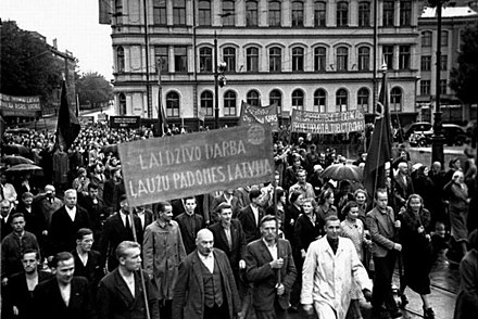 Soviet-organized rally in Riga, 1940 Demonstration in Riga. 1940 in Latvia. 015.jpg