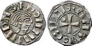 Bohemond V of Antioch - Image: Denier à l'effigie de Bohémond III de la Principauté d'Antioche, 1149 1163