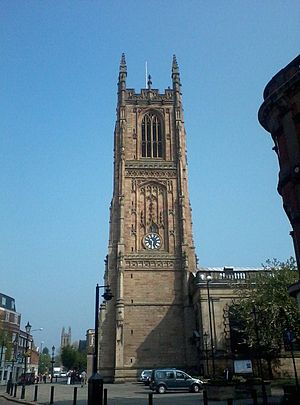 Derby - View of Derby Cathedral Facing Clock Tower