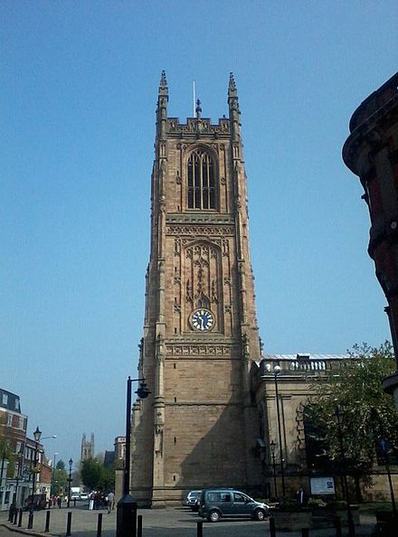 View of Derby Cathedral Facing Clock Tower Derbyshire Cathedral.jpg