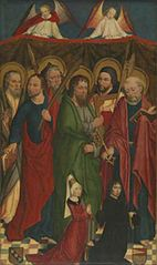 Left wing of St. Laurenz triptych - 6 Apostles and the donor Gerhard von Wesel (1443-1510) with his third wife Adelheid Bischof