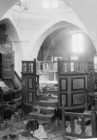 1929 Palestine riots - Torn sacred books and broken furniture in a synagogue desecrated by Arab rioters in Hebron, 1929