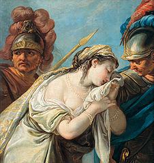 Briséis entraînée de la tente d'Achille