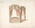 Design for a Curtained Four Poster Bed with Brown, Pink and White Striped Curtains MET DP807425.jpg