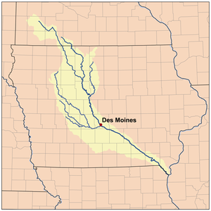 Map of the Des Moines River watershed.