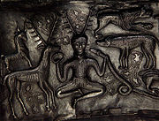 Detail of antlered figure on the Gundestrup Cauldron