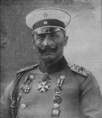 "Wilhelm II of Germany was known for his impetuous personality, described by one scholar as ""not lacking in intelligence, but he did lack stability, disguising his deep insecurities by swagger and tough talk."" Deutsche Kriegszeitung (1914) 01 01.png"