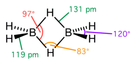Diborane. The two central hydrogen atoms are simultaneously bonded to both boron atoms in 3c-2e bonds.