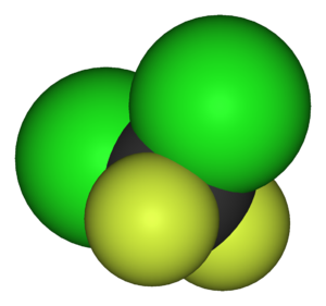 Dichlorodifluoromethane - Image: Dichlorodifluorometh ane 3D vd W