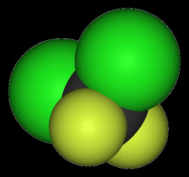 Modell av difluordiklormetan, CCl2F2.