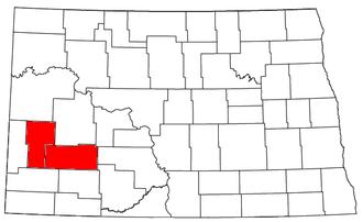 Dickinson, North Dakota micropolitan area - Location of the Dickinson Micropolitan Statistical Area in North Dakota
