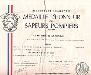 Honour medal for firefighters - 1953 silver medal award certificate for lieutenant Alcide Mespléde