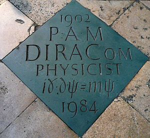Paul Dirac - The commemorative marker in Westminster Abbey.