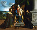 Dosso Dossi (Giovanni de' Luteri), Italian (active Ferrara), first recorded 1512, died 1542 - The Holy Family, with the Young Saint John the Baptist, a Cat, and Two Donors - Google Art Project.jpg