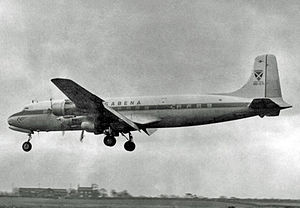 Douglas DC-6 - Sabena DC-6B arriving at Manchester in 1955 after a nonstop scheduled passenger flight from New York